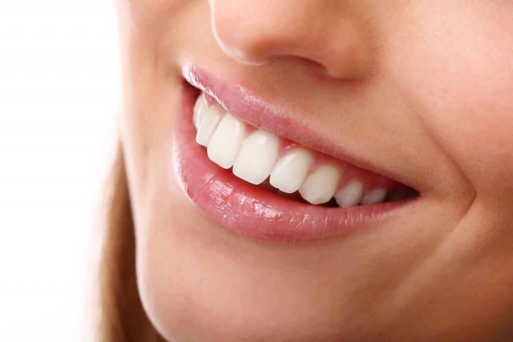 perfect smile with white teeth closeup